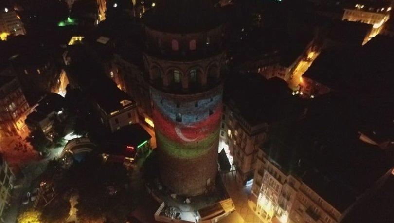 Azerbaycan Bayrağı Galata Kulesi'ne yansıtıldı