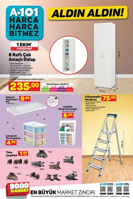 A101 1 Ekim Aktüel ürünler kataloğu! A101 haftanın indirimli ürünler listesi