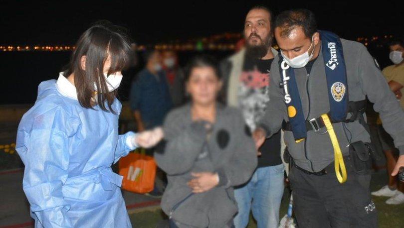 İzmir'de denize düşen kadını deniz polisi son anda kurtardı