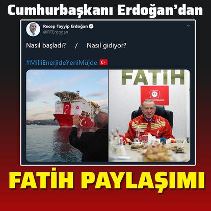 Cumhurbaşkanı Recep Tayyip Erdoğan'dan iki karede 'Fatih' paylaşımı