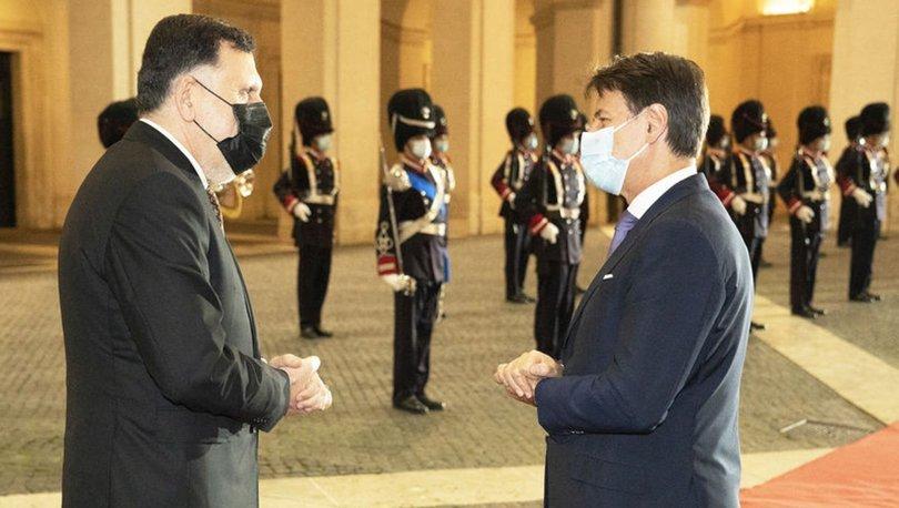 İtalya Başbakanı Conte ile Libya Başbakanı Serrac bir araya geldi