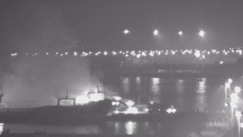 İstanbul Kartal sahilinde bulunan gemide yangın