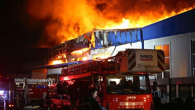 Düzce'de çimento fabrikasında korkutan yangın