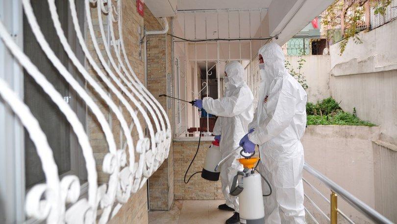 Testi pozitif çıkanların binalarına dezenfeksiyon çalışması - Haberler