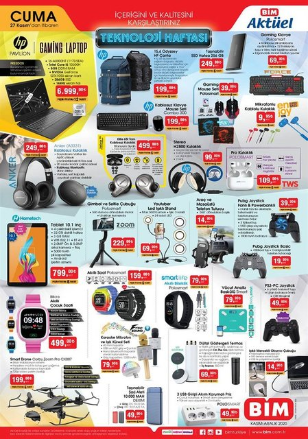27 Kasım BİM Aktüel ürünler kataloğu! BİM indirimli ürünler listesi... BİM'de bu hafta