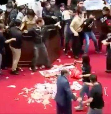 Tayvan parlamentosu karıştı: Milletvekilleri bağırsak fırsattı!