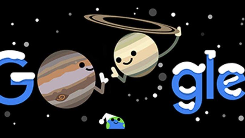 2020 Kışı ve Çifte Gezegen doodle oldu! - 21 Aralık Jüpiter ve Satürn buluşması ne zaman, saat kaçta olacak?