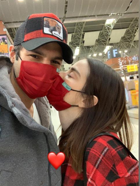 Özge Gürel'den sevgilisi Serkan Çayoğlu'na maskeli öpücük - Magazin haberleri