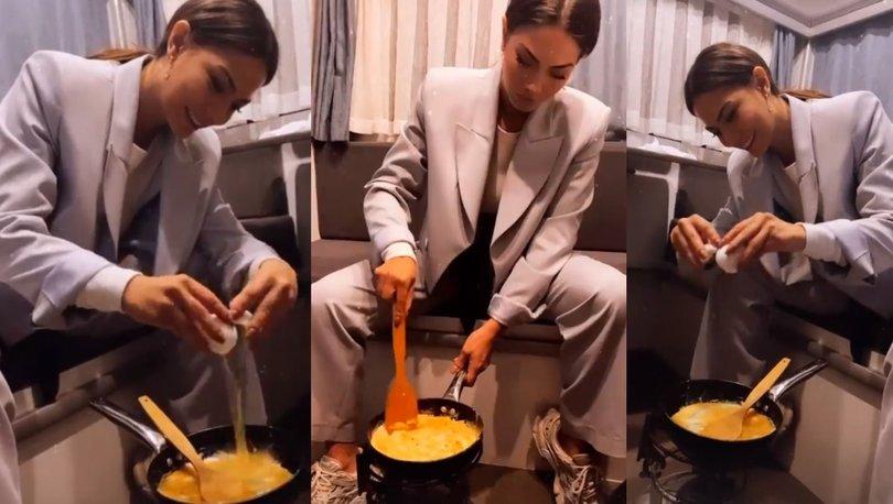 Demet Özdemir karavanda omlet yaptı - Magazin haberleri