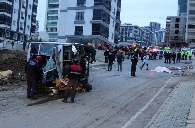 Belediye işçi servisi devrildi: Ölü ve yaralılar var