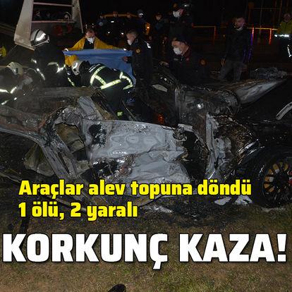 Zincirleme kazada araçlar alev aldı: 1 ölü, 2 yaralı
