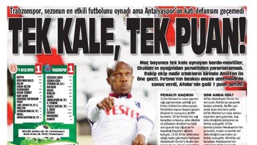 Trabzon basınından 1 puan eleştirisi