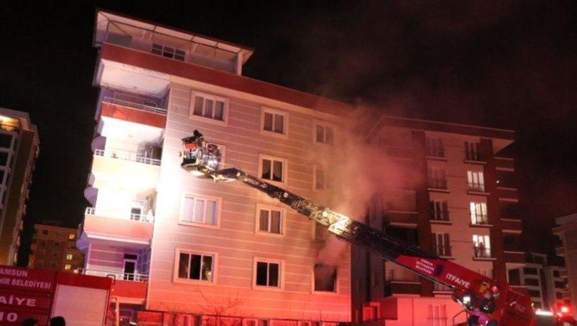 Samsun'da yangın çıkan apartmanda 2 çocuk dumandan etkilendi