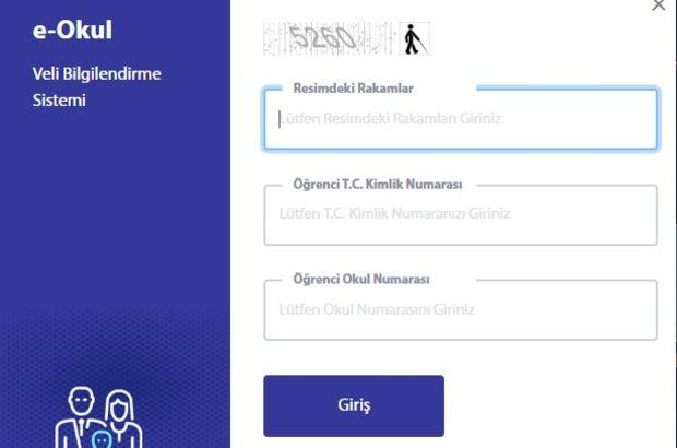 E-Okul Karne notu sorgulama ekranı