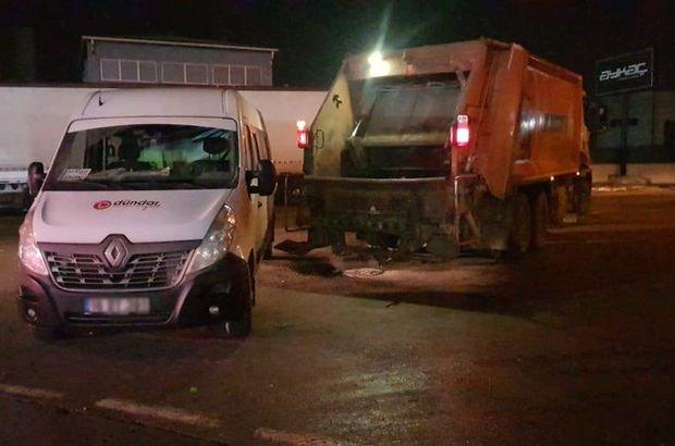 Servis aracı ile çöp kamyonu arasında sıkışan işçi yaralandı