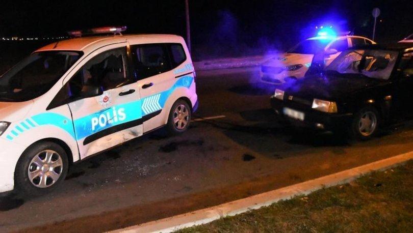 Drift yapan otomobil kovalamacada polis aracına çarptı: 2 gözaltı