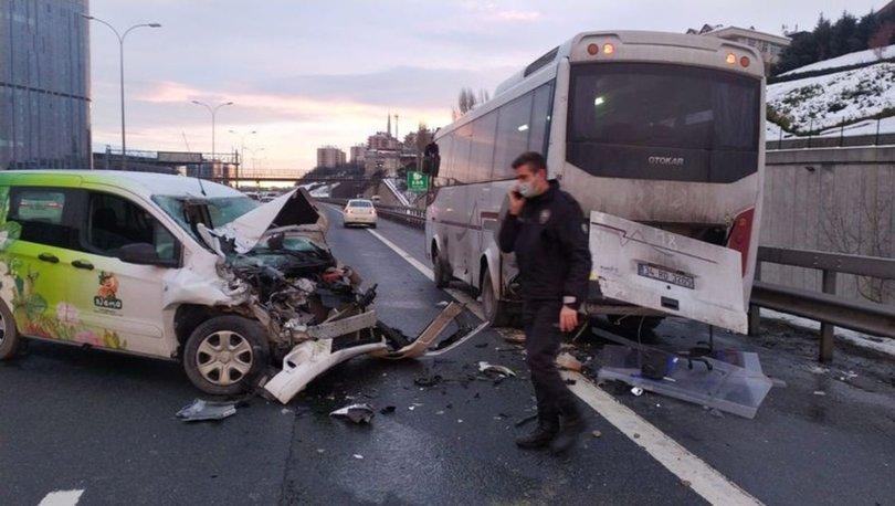TEM'de Çevik Kuvvet aracına çarptı!