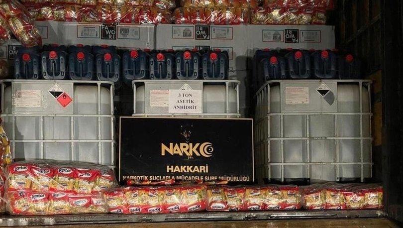 Hakkari'de 3 ton asit ele geçirildi - Haberler