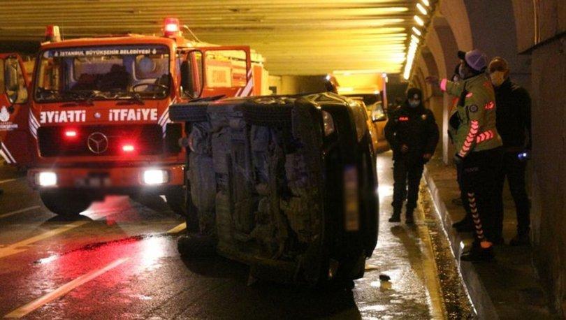 İstanbul'da otomobil devrildi, yaralanan alkollü sürücü polise direndi