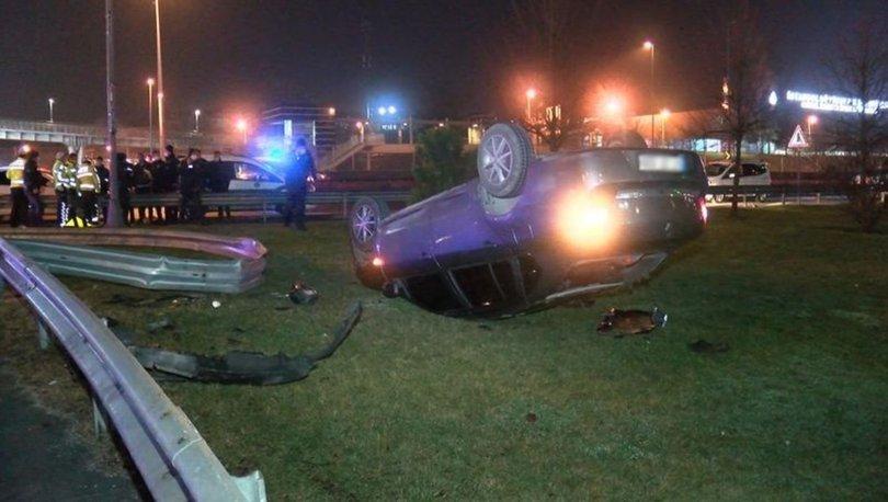 Polis denetiminden kaçan otomobil takla attı: 2 gözaltı