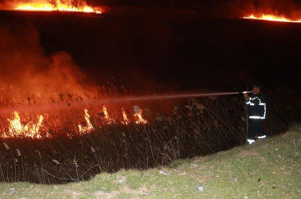 Sazlık alandaki yangın söndürüldü