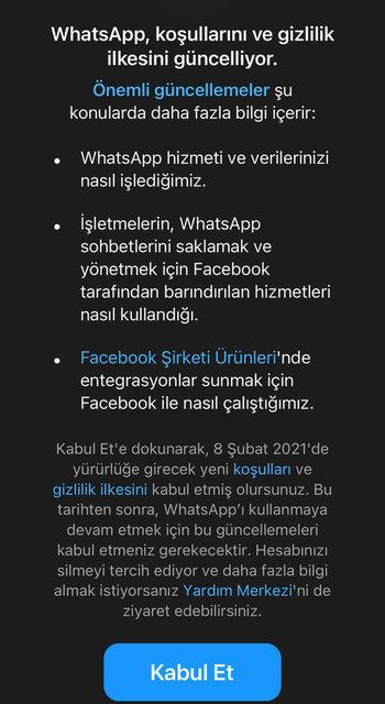Whatsapp Gizlilik Sözleşmesi son durum: Whatsapp gzililik sözleşmesi maddeleri ne, kabul etmeyen hesaplar silinecek mi?