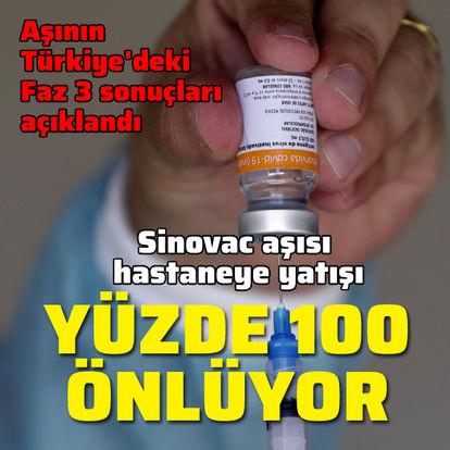 Sinovac aşısı hastaneye yatışı yüzde 100 önlüyor