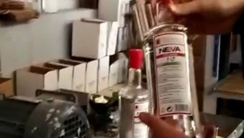 Kocaeli'de kaçak ve sahte alkol imalatı yapılan fabrikaya operasyon