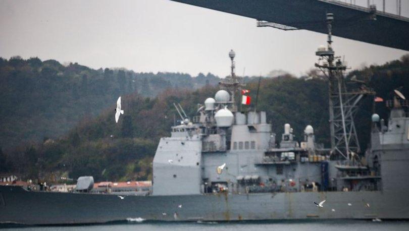 ABD savaş gemisi 'USS Monterey' İstanbul Boğazı'ndan geçti