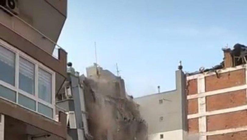 Son dakika... Ağır hasarlı bina yıkım esnasında çöktü, başka binaya hasar verdi