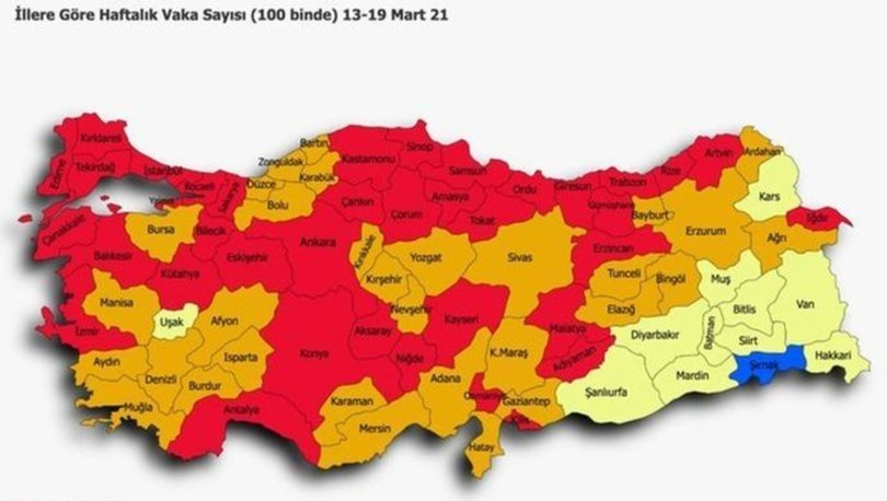 29 Mart Türkiye risk haritası yayınlandı! Türkiye kırmızıya döndü! En yüksek riskli iller hangisi?