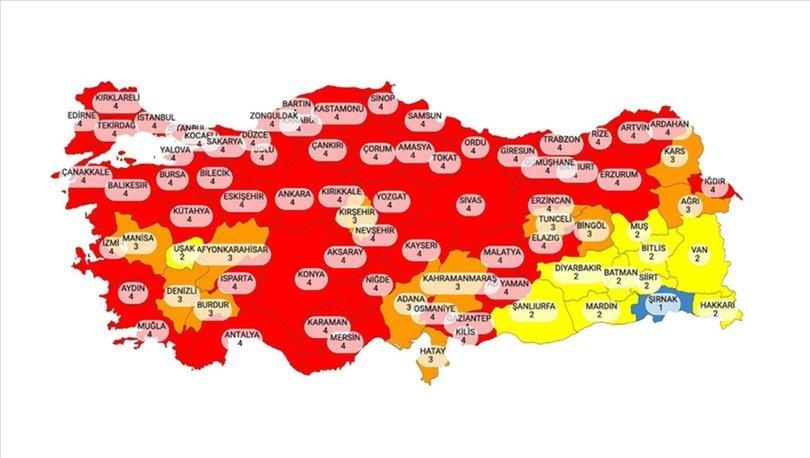 Türkiye risk haritası SON DAKİKA: 58 il birden kırmızı oldu