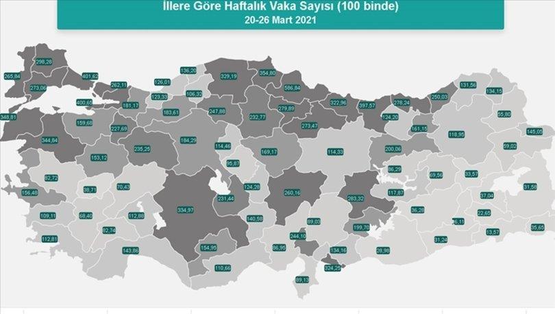 Son dakika: Türkiye'nin vaka haritası güncellendi