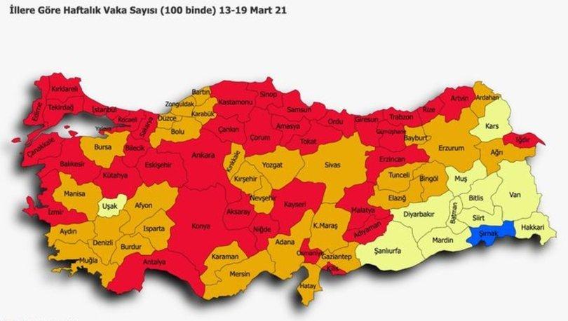 İl il risk haritası 3 Nisan! Türkiye risk haritasına göre düşük, orta, yüksek ve çok yüksek riskli iller