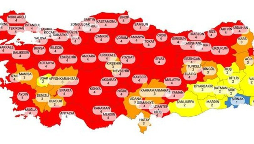 Türkiye risk haritası 6 Nisan! Korona haritasına göre düşük, orta, yüksek ve çok yüksek riskli iller