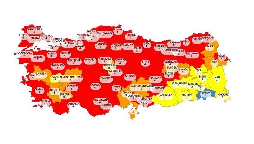 İl il risk haritası 7 Nisan 2021! Türkiye risk haritasına göre düşük, orta, yüksek ve çok yüksek riskli iller