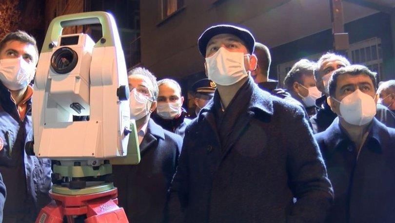 İçişleri Bakanı Süleyman Soylu, çökme tehlikesi bulunan binanın yukarıdan makaslanarak yıkılacağını açıkladı