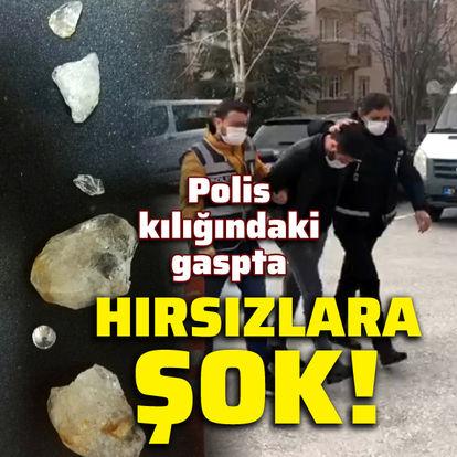 Polis kılığındaki gaspta hırsızlara şok!