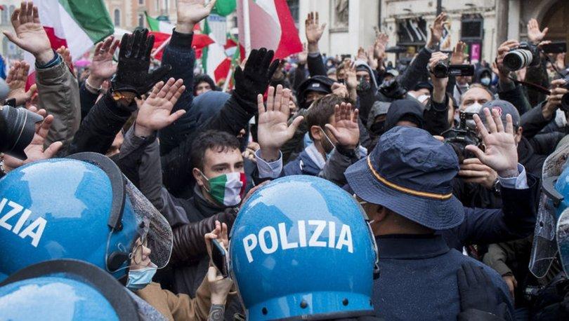 İtalya'da Kovid-19 tedbirlerine yönelik protestolar devam ediyor