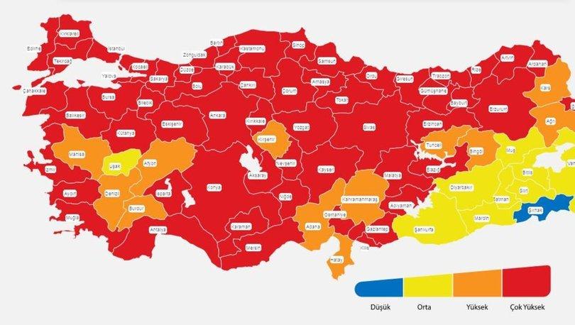 İl il risk haritası 13 Nisan! Türkiye risk haritasına göre düşük, orta, yüksek ve çok yüksek riskli iller list