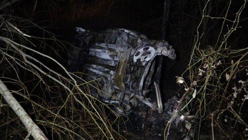 Şarampole yuvarlanan otomobil alev aldı: 1 kişi yanarak öldü