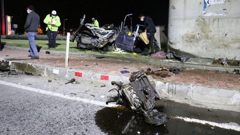 Edirne'de otomobil, köprülü kavşağın ayağına çarptı: 1 ölü, 2 yaralı