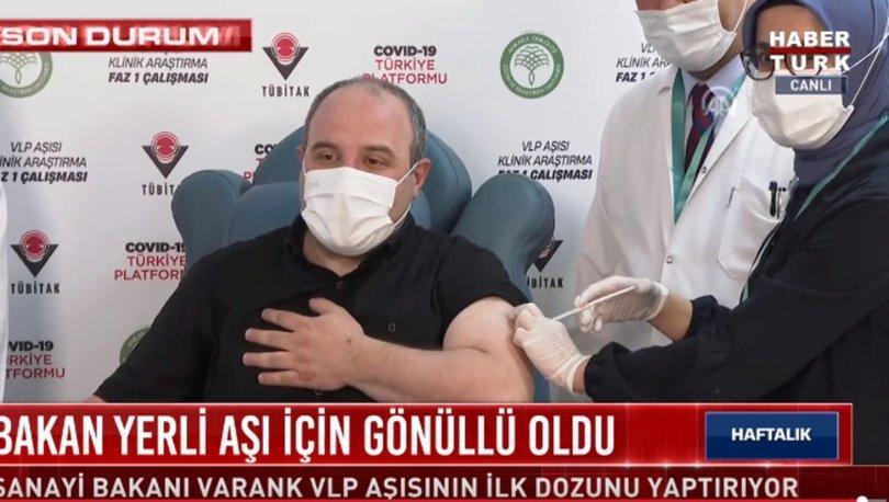 Sanayi ve Teknoloji Bakanı Mustafa Varank, gönüllü olarak yerli aşı oldu
