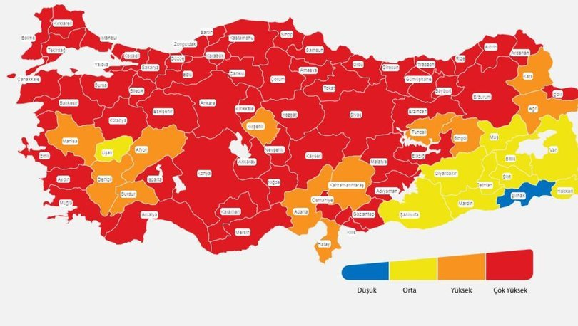 İl il risk haritası 18 Nisan! Türkiye risk haritasına göre düşük, orta, yüksek ve çok yüksek riskli iller list
