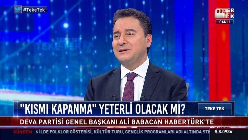 DEVA Partisi Genel Başkanı Ali Babacan Teke Tek'te Fatih Altaylı'ya konuştu
