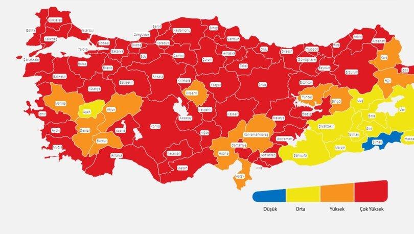 İl il risk haritası 19 Nisan! Türkiye risk haritasına göre düşük, orta, yüksek ve çok yüksek riskli iller list