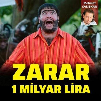 Zarar 1 milyar lira