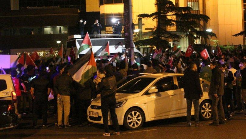 İSRAİL PROTESTOSU! Son dakika: İsrail Başkonsolosluğu önünde protesto Kudüs protestosu!