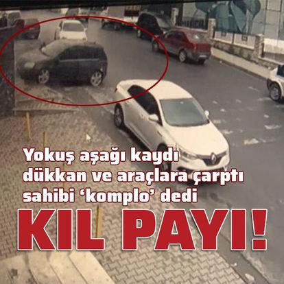 Otomobil yokuş aşağı kaydı! İnsanlar saniyelerle kurtuldu