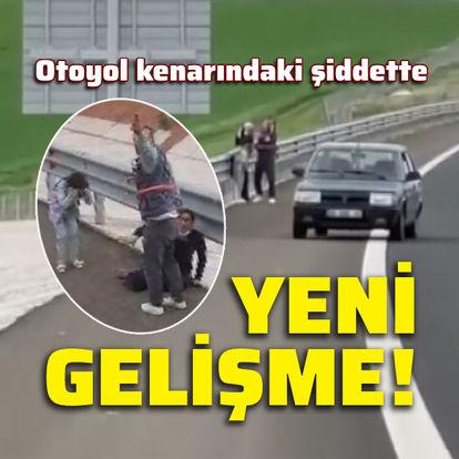 Otoyol kenarında kadına şiddet!
